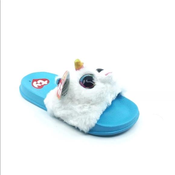 e92a323dc TY Beanie Boo Shoes | Nwt Beanie Boo Girls Blue Fluffy Unicorn ...
